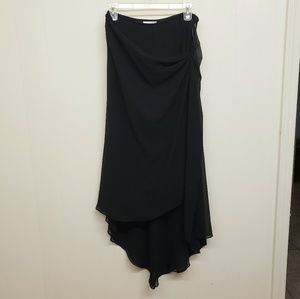 Like New! Black Sheer Silk High-Low Skirt